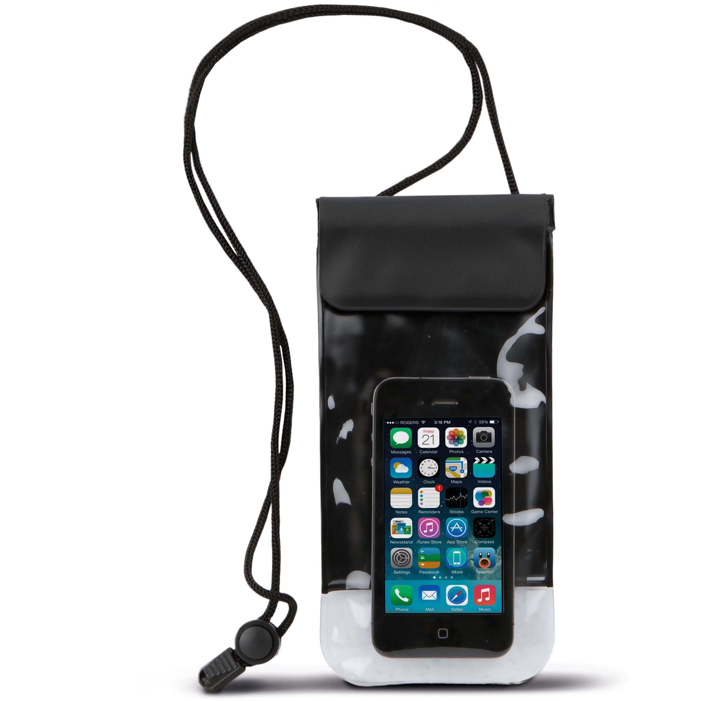 Waterdichte telefoon hoes met nekkoord zwart 10 x 20 cm telefoonaccessoires