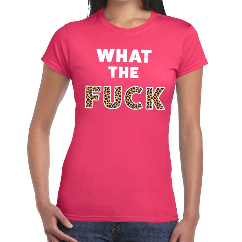 What the Fuck tijger print tekst t-shirt roze dames