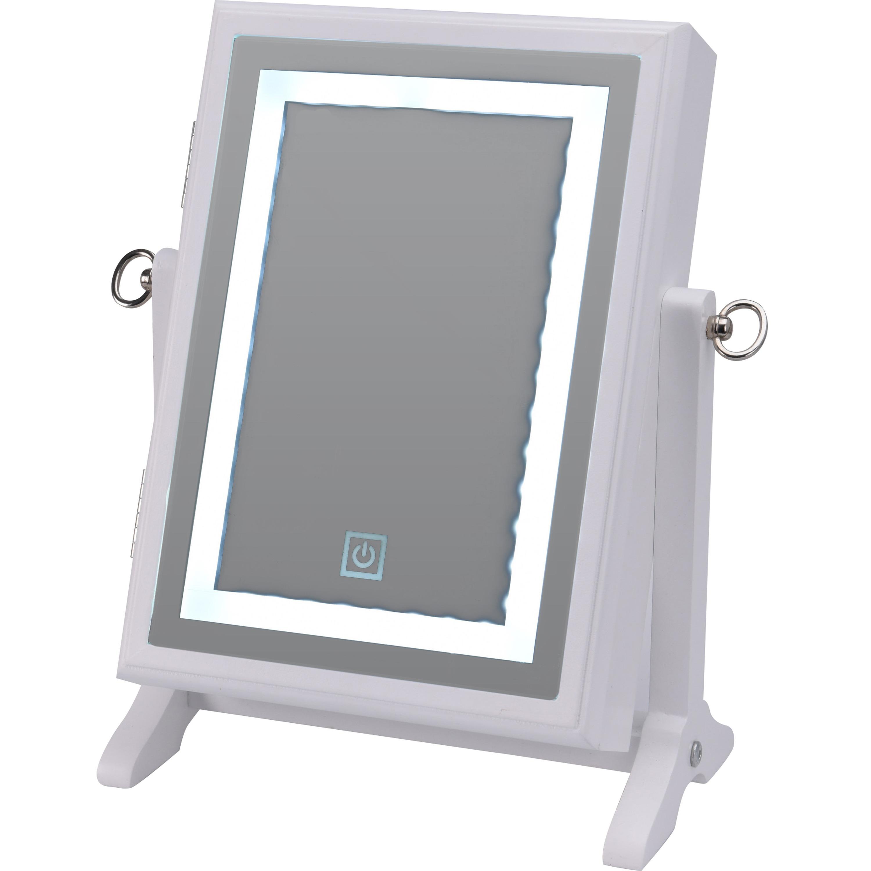 Wit juwelenkistje-kastje met spiegel en LED-verlichting 23 x 35 cm