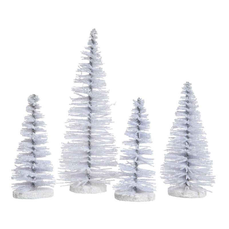 Witte deco mini sier kerstboompjes 15 cm 4 stuks