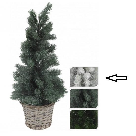 Witte kunst kerstboom in mand 60 cm