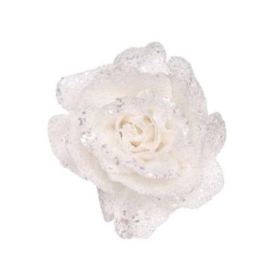 Witte rozen met glitters op clip 10 cm kerstversiering