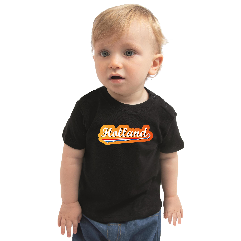 Zwart t-shirt met Nederlandse wimpel Holland supporter voor baby-peuters
