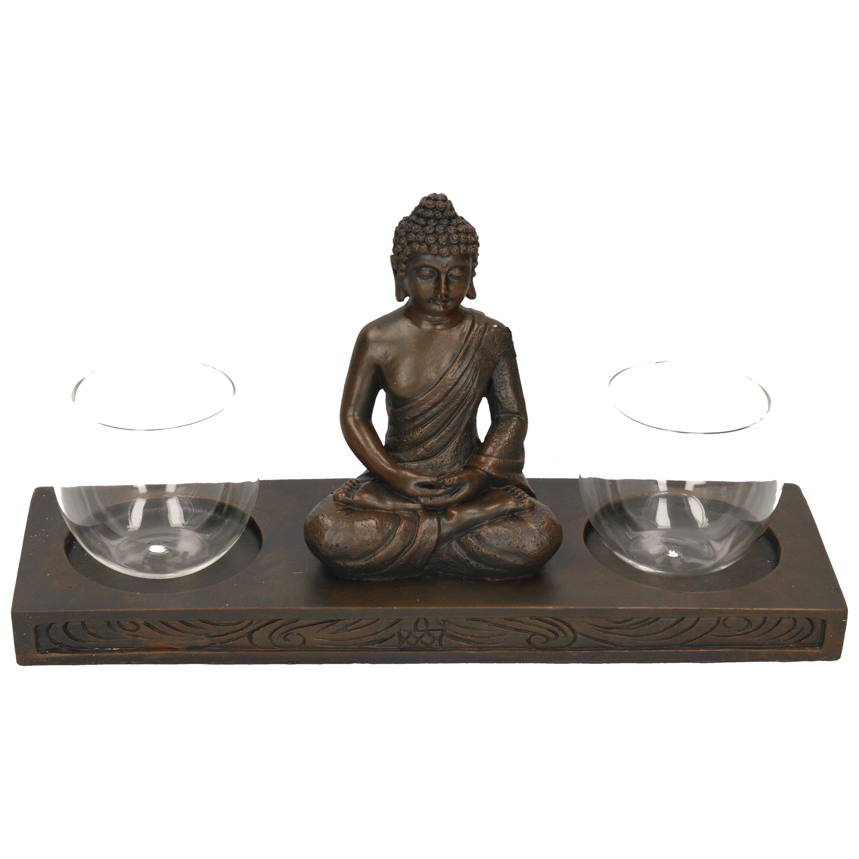 Zwarte boeddha dubbele waxinelichthouder 32 cm