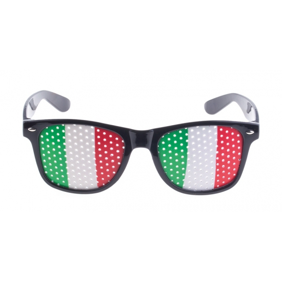 Zwarte Italie supporters vlag bril voor volwassenen